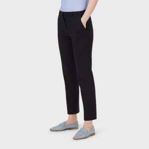EMPORIO ARMANI CROPPED COTTON COUTURE TROUSERS WITH CREASE 3K2P63 2NYSZ 0926-BLU NAVY
