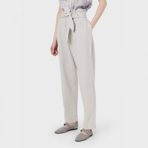 EMPORIO ARMANI BELTED, DARTED, STRETCH TWILL TROUSERS 3K2P7C 2JQFZ 0601-SILVERY GREY
