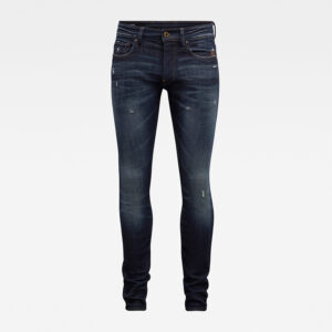 G-STAR RAW REVEND SKINNY JEANS 51010-C051-B195 WORN IN SAPPHIRE DESTROYED