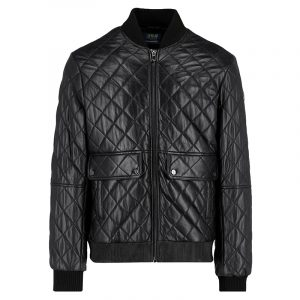 TRUSSARDI JEANS REGULAR FIT QUILTED LEATHER JACKET 52S00195-2P000078-B200 BLACK