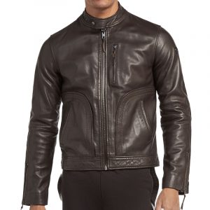 TRUSSARDI SLIM FIT WASHED LEATHER JACKET 52S00198 2P000074-K299 BROWN