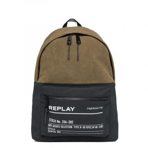 REPLAY TWO-TONE FABRIC BACKPACK FM3504.000.A0175 1407-JUNGLE DK GREEN/BLACK