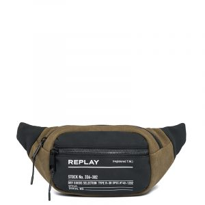 REPLAY TWO-TONE FABRIC WAIST BAG FM3505.000.A0175 1407-JUNGLE DK GREEN/BLACK