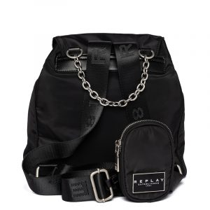 REPLAY NYLON BACKPACK WITH POCKETS FW3114.000.A0435 098-BLACK