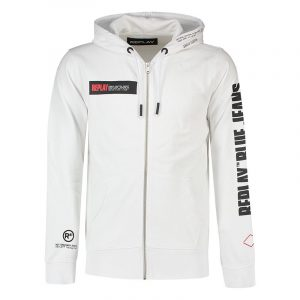 REPLAY HOODIE WITH REPLAY BLUE JEANS PRINT M3322 .000.22390P 001-OPTICAL WHITE
