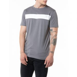 REPLAY CREWNECK JERSEY T-SHIRT WITH CONTRASTING STRIPE M3364 .000.2660 496-CONCRETE GREY