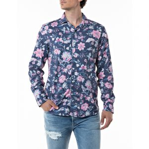 REPLAY FLORAL SHIRT IN DOBBY COTTON M4049 .000.72233 010-BLUE/ROSE FLOWERS