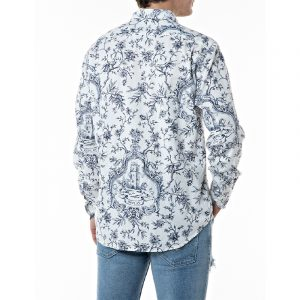 REPLAY SHIRT IN PRINTED DOBBY COTTON M4049 .000.72235 010-WHITE/BLUE
