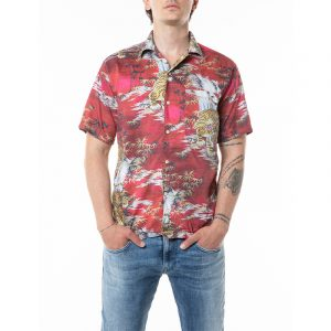 REPLAY TIGER AND PALM TREES PRINT SHIRT M4985 .000.72228 010-RED MALAYSIAN LANDSCAPE
