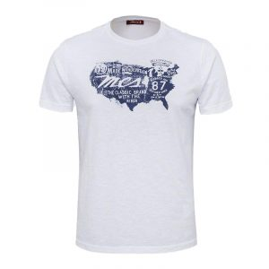 MARLBORO CLASSICS  JESEY T-SHIRT WITH PRINT ON THE FRONT MCS-M-T-04006  001-WHITE