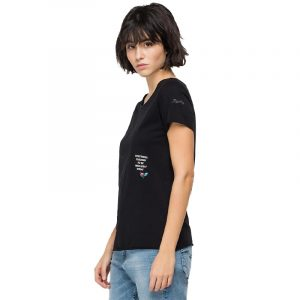 REPLAY SLIM FIT T-SHIRT WITH ROSE LABEL T-SHIRT W3327B.000.23120P 098-BLACK