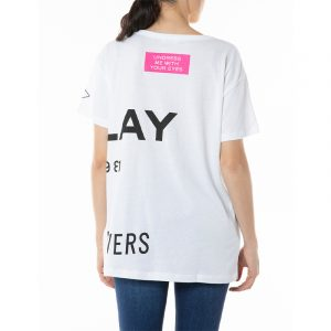 REPLAY V-NECK T-SHIRT WITH REPLAY PRINT W3560 .000.22536P 001-OPTICAL WHITE