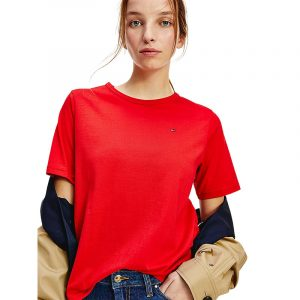 TOMMY HILFIGER RELAXED GLB STP OPEN-NK TOP WW0WW30469-XLG-PRIMARY RED