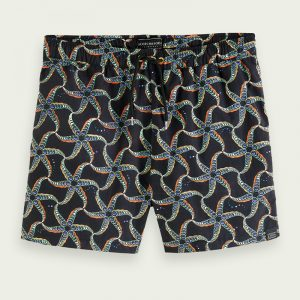 SCOTCH & SODA SHORT LENGTH RECYCLED NYLON ALL-OVER PRINTED ΜΑΓΙΟ 160601-0217-BLACK/COMBO A