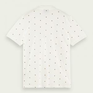 SCOTCH & SODA CLASSIC ALL-OVER PRINTED ORGANIC COTTON PIQUE POLO ΜΠΛΟΥΖΑ 160876-0220-WHITE/COMBO D