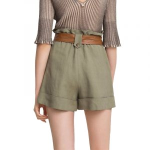 TWINSET CANVAS AND FAUX LEATHER SHORTS 201TT2213-OIL GREEN