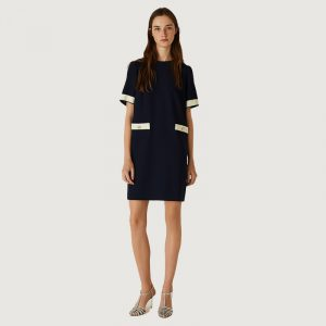 MARELLA EDY DRESS WITH TRIM ACCENTS 32211111-003-NAVY