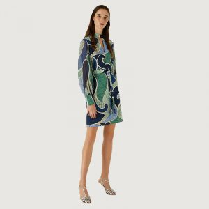 MARELLA BARBIAN PATTERNED DRESS 32212511-001-CORNFLOWER BLUE