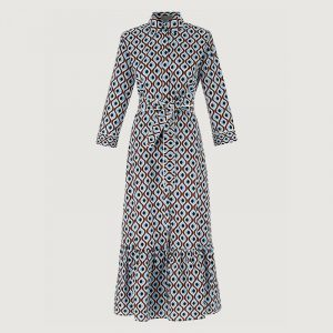 MARELLA SPAZIO PATTERNED DRESS 32213112-001-DEEP BLUE