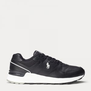 POLO RALPH LAUREN TRACKSTER 100 LEATHER TRAINER 809806303001-BLACK