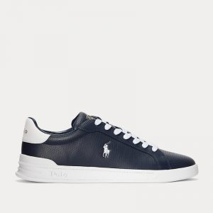 POLO RALPH LAUREN HERITAGE COURT II LEATHER TRAINER 809829825003-NAVY/WHITE