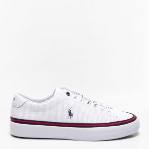 POLO RALPH LAUREN LONGWOOD LEATHER TRAINER 816829759001-WHITE/NAVY