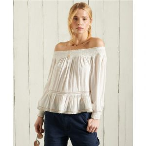 SUPERDRY AMEERA OFF SHOULDER ΤΟΠ W6010465A-04C-WHITE