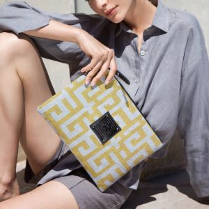 AMES CLUTCH KLEOS LARGE-GREY/LIME