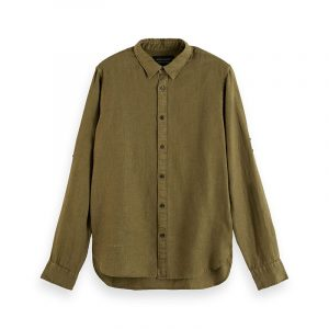SCOTCH & SODA REGULAR FIT- GARMENT-DYED LINEN SHIRT WITH SLEEVE ROLL-UP 160775-0115-ARMY