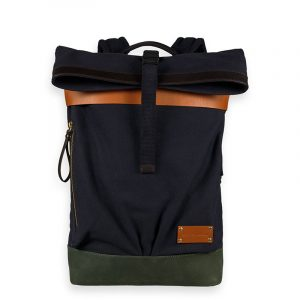 SCOTCH & SODA LEATHER AND SUEDE-TRIMMED CANVAS ΤΣΑΝΤΑ BACKPACK 164172-0217-COMBO A