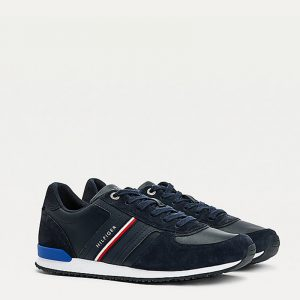 TOMMY HILFIGER  ICONIC RUNNER LEATHER MIX SNEAKERS FM0FM03743-DW5-DESERT SKY
