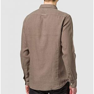 REPLAY LINEN SHIRT WITH POCKET M4053 .000.81388N 401-MUD