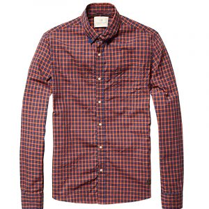 SCOTCH AND SODA LONG-SLEEVE COLORED-CHECK SHIRT 15040820030-B RED/BLUE