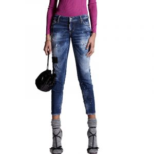 DSQUARED2 DARK LEATHER PATCHES WASH JENNIFER CROPPED JEAN ΠΑΝΤΕΛΟΝΙ S72LB0431 S30342 470-BLUE