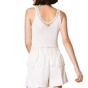 TWINSET EMBROIDERED CROCHET TOP WITH FRINGES 201TT3152-WHITE