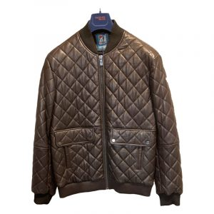 TRUSSARDI JEANS REGULAR FIT QUILTED LEATHER JACKET 52S00195-2P000078-B200 BROWN