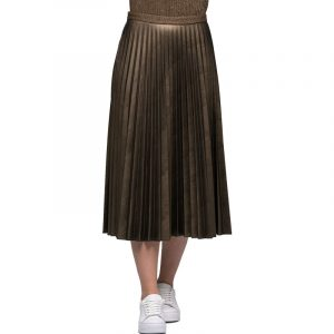 AGGEL FAUX LEATHER PLEATED MIDI WITH KNITTED DETAILS ΦΟΥΣΤΑ FW17107KF-BRONZE METALLIC